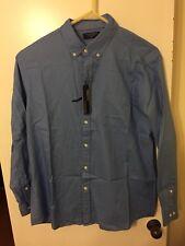 NWT Roundtree Yorke Mens 100% cotton Blue Long Sleeve Button Down Shirt Sz XL