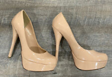 BEIGE PATENT PLATFORM PUMPS HEELS SHOES SZ 7.5