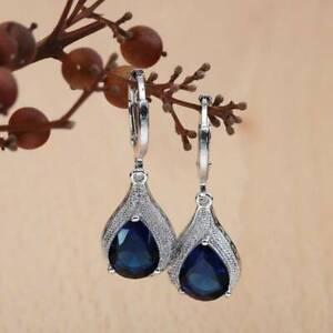 Women 925 Silver Sapphire Topaz Gems Drop Dangle Hook Earring Wedding Jewelry