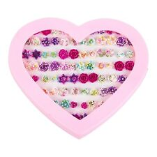 Kids 72pc Costume Earring Set In Heart Display Case -  Roses / Flowers