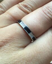 Lovely Monochrome Striped Band Ring/Black & White/Shell Inlay/Dainty/Size P