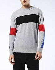 Diesel Men's Light Grey Colorblock K-Cashmy Crew-Neck Pullover Sweater