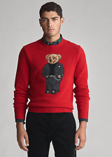 Polo Ralph Lauren Men's Knit Suit Bear Wool Sweater Red Size X - Large