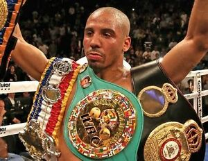 ANDRE WARD 8X10 PHOTO BOXING PICTURE WITH BELTS