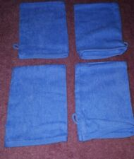 Set Of 4 Cotton Towelling Wash Mitts - Scenario. Blue. New & Unused