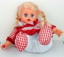 """Laughing Sitting Girl Baby Doll in Red Dress Plush Plastic - Batteries 8""""H New"""