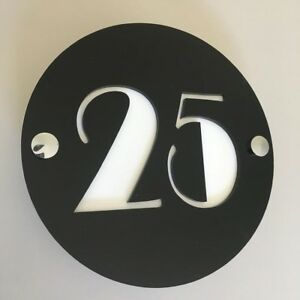 Round Number House Sign - Black & White Gloss Finish