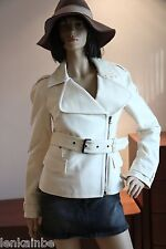 Costume National Off White Jacket Coat Stand Up Collar 44