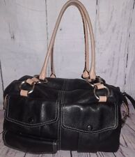 Hype Black Pebbled Leather Satchel Handbag