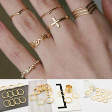 11Pcs/Pack Vintage Gold Ring Boho Cross Letter Midi Finger Knuckle Rings Jewelry