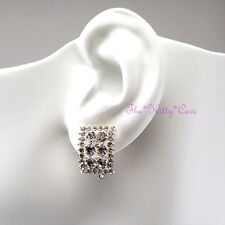 Silver Rhodium Plated Rectangle Trellis Clip-on Earrings w/ Swarovski Crystals