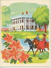 New listing VINTAGE AZALEA FLOWERS EQUESTRIAN HORSE PLANTATION SPOON BREAD CORN RECIPE CARD