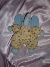 Carter's Blue Elephant Knit Yellow Animal Print Plush Baby Toy Rattle Lennon