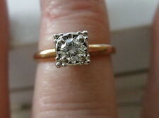 VINTAGE ESTATE SOLITAIRE DIAMOND RING 14K YELLOW GOLD .17 TCW  w/APPRAISAL