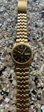 Vintage 1990's Seiko Gold Stainless Steel Men's Watch Black Face Day Date Fancy