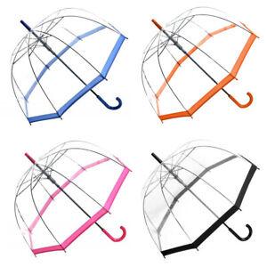 Regenschirm Damen Transparent Durchsichtig Glockenschirm Automatik POE