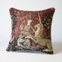 """Jacquard Weave Tapestry Pillow Cushion Cover Lady & Unicorn - Sight 18""""x18"""" US"""