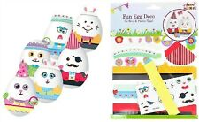 Childrens EASTER Egg Decorating Craft Kit Decorations for 6 real or plastic Eggs