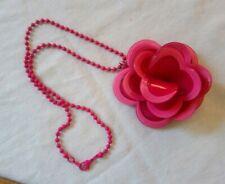 Plastic Oversize Retro Pink Flower Pendant On Chain