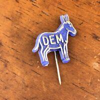 Vtg Plastic Dem Donkey Stick Pin Democrat Political Blue Silver Lewtan USA