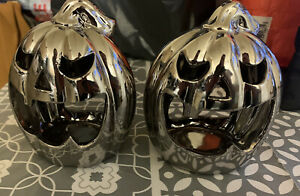 2 x Tea Light Holder Pumpkin Ceramic 🎃 Spooky 👻