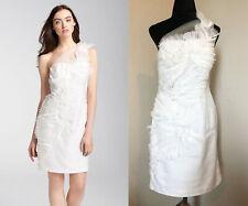 Kathy Hilton One Shoulder Tulle Bridal White Dress Size 4