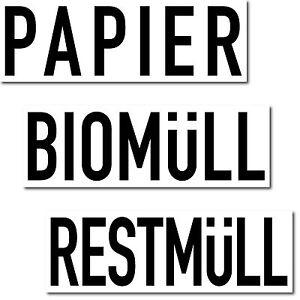 Set 3 Aufkleber 20cm Papier Bio Rest Müll Abfall Trennung Kontainer Eimer Tonne