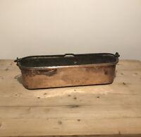 Vintage Copper Fish Kettle Poacher Antique Planter Pot Solid Patina Jardiniere