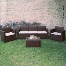 Salotto arredamento giardino divano 3 posti 2 poltrone con cuscini + tavolino