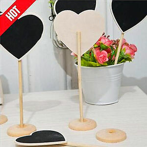 3x Wedding love Party mini Wooden Heart blackboard Chalkboard Stand Placecard