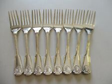 "8 International 1847 Rogers Bros Royal Shell Salad Forks 6 3/4"" Silverplate"