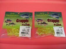 "2 Packs Yamamoto Crappie Soft Bait Fishing Lure 1.75"" Tube Chart Silver Glitter"
