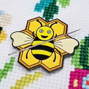 Bee Needle Minder, Enamel Needle Minder, Bee Magnet by Meloca Designs