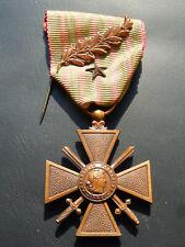 T6J) Belle médaille croix de guerre 1914 1918 avec palme french medal