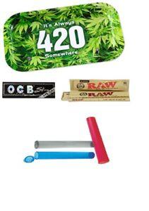 Starter Geschenkset Rolling Tray Drehtablett Papers OCB RAW prerolled Joint-Tube