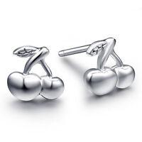 Girls Earrings Cute Cherry Ear Studs Women's 925 Sterling Silver Fashion Jewelry