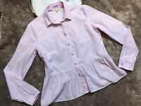 Brooks Brothers Womens Top Blouse Size 6 Pink White Stripes Long Sleeves Button