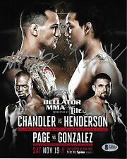 Benson Henderson Michael Chandler & Page Gonzalez Signed 8x10 Photo Bellator 165