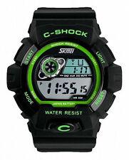 Silicone/Rubber Case Digital Unisex Round Wristwatches