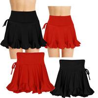 Jupe de Danse Femme Jupe Plissé de Ballet Latin Tango Extensible Taille Haute
