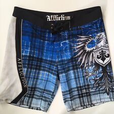 Affliction Board Shorts Men's 38 Blue Eagle Embroidered Swim Surf Free Shipping