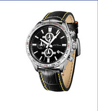 MENS NEW STAINLESS STEEL CHRONOGRAPH WRIST WATCH SILVER TW CARRERA BLACK LEATHER