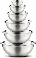 Stainless Steel Mixing Bowls by Finedine (Set of 6) Polished Mirror Finish