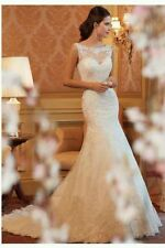 UK New White/Ivory Lace mermaid Sleeveless wedding dresses Bridal Gown Size 6-16
