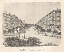B2331 Saragozza - Veduta di una via - Incisione antica del 1930 - Engraving