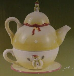 NEW  DEBBIE MUMM XMAS HOLIDAY MINI TEA POT FOR ONE STACKABLE SNOWMAN LIME GR NIB