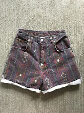 Vintage 90s Festival Tribal Print Denim Jeans Cut Off Shorts High Waisted 30""