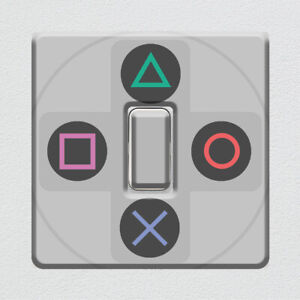 PlayStation One Controller Buttons UK Light Switch Vinyl Sticker for Game Room