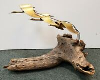 Mid 20th Century Metal Geese in Flight on Driftwood Base Sculpture