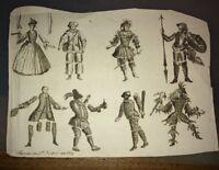 GRAVURE À SYSTÈME XVIIIéme.Huit personnage articulés à découper.